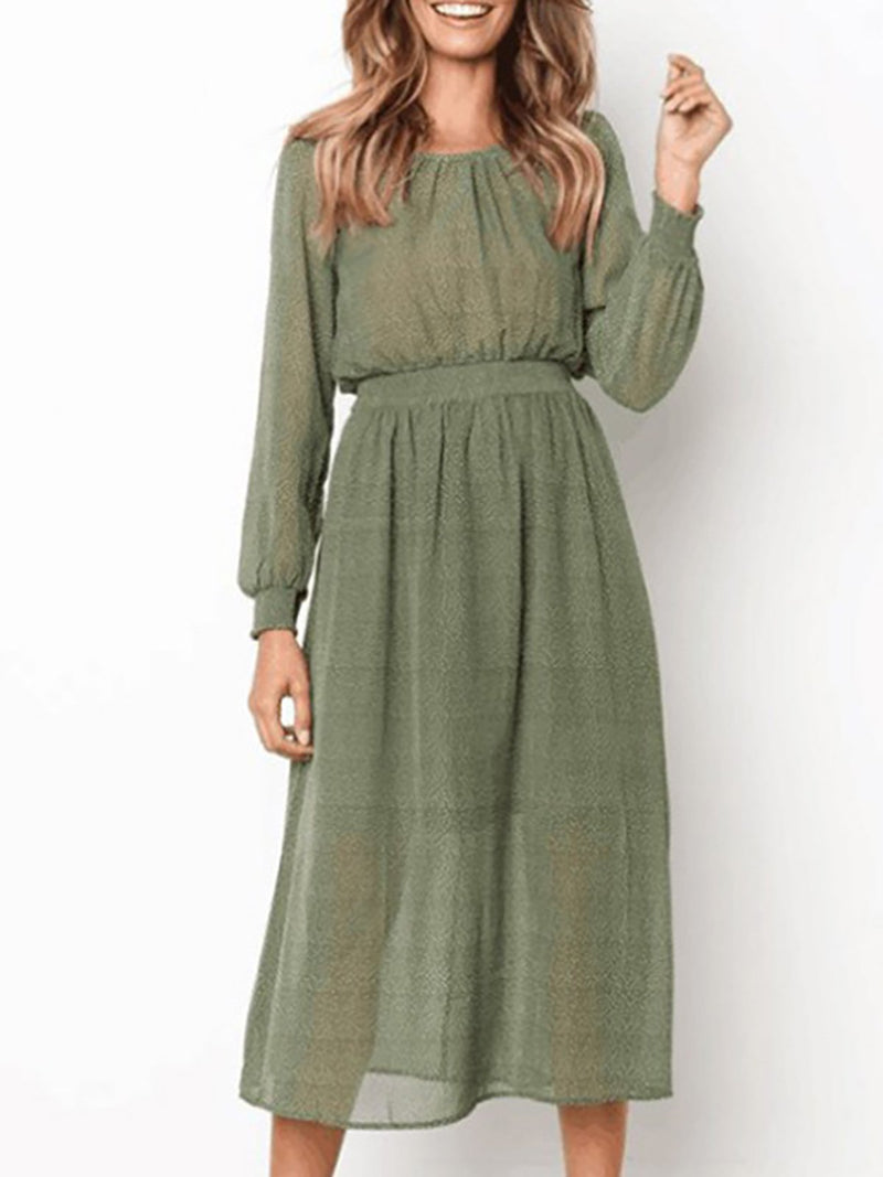 Green Polka Dots Casual Fall Dress