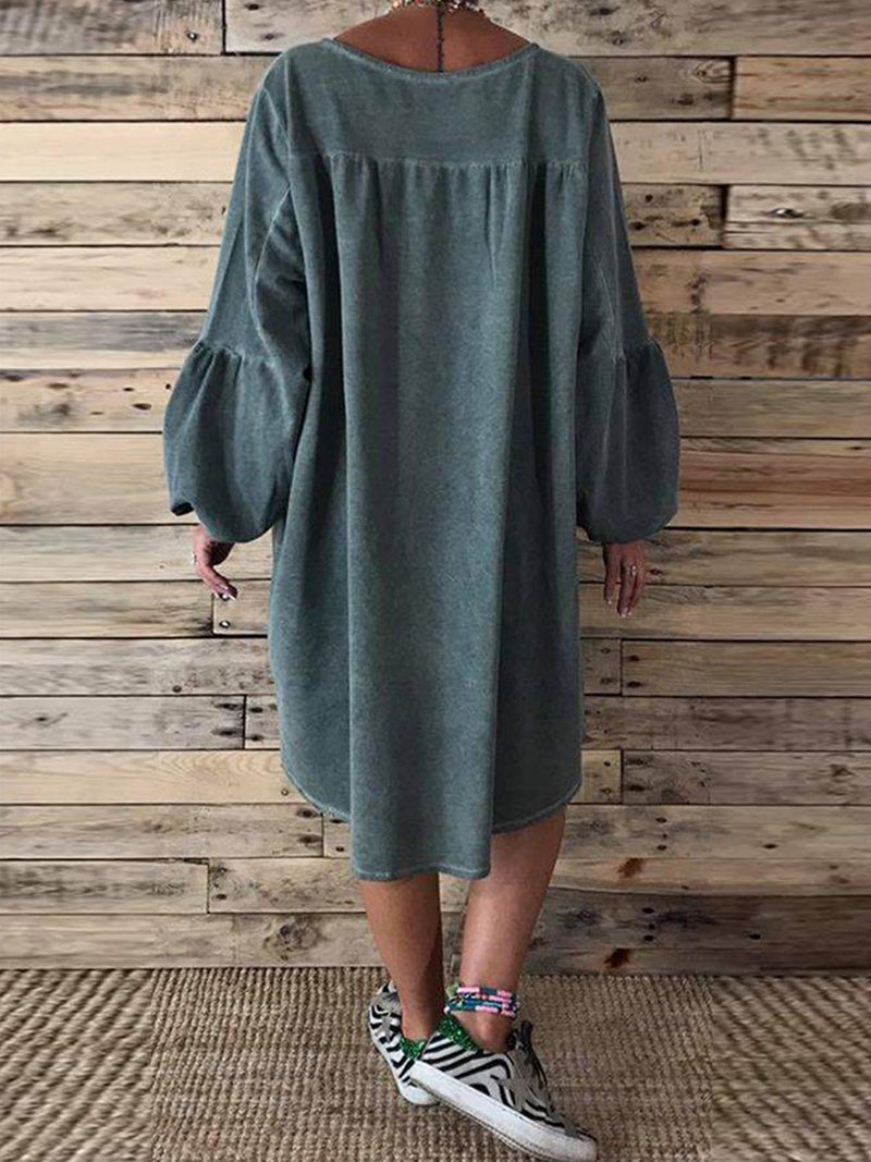 Dark Green Casual Solid V Neck Dresses