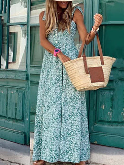 Chic off shoulder strappy loose vacation dress