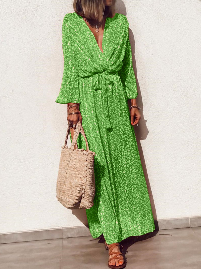 Long Sleeve V-neck   Floral  Elegant Casual  Maxi  Dress