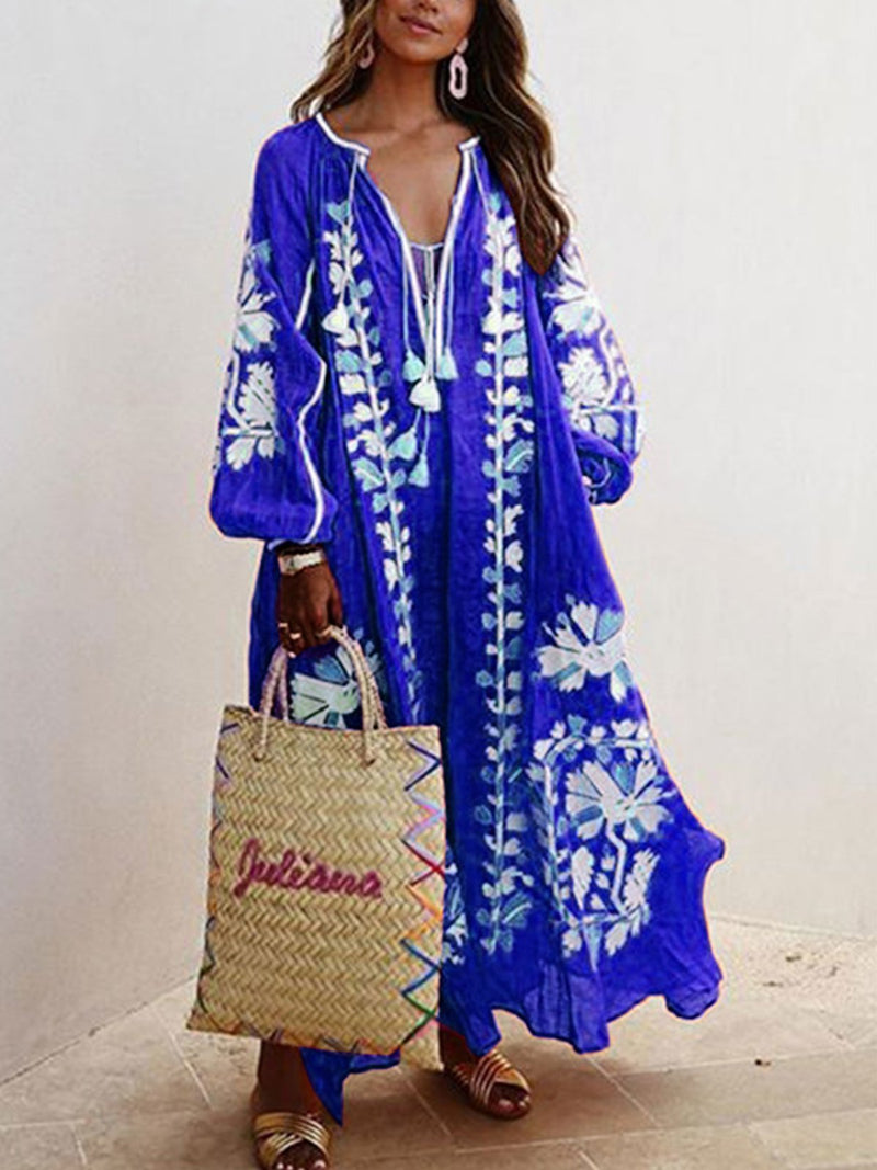Balloon Sleeves Boho Printed Maxi Dresses