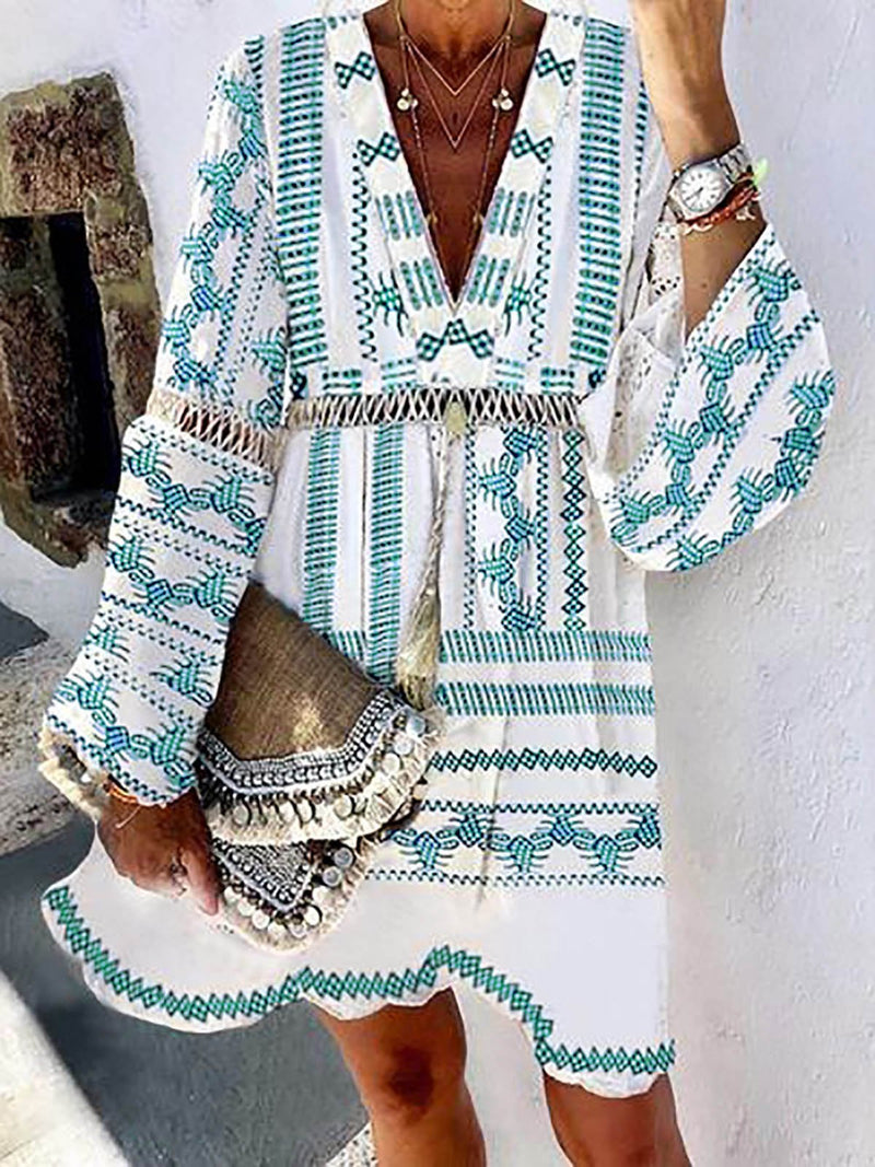 V Neck Women Dresses Shift Beach Boho Animal Dresses