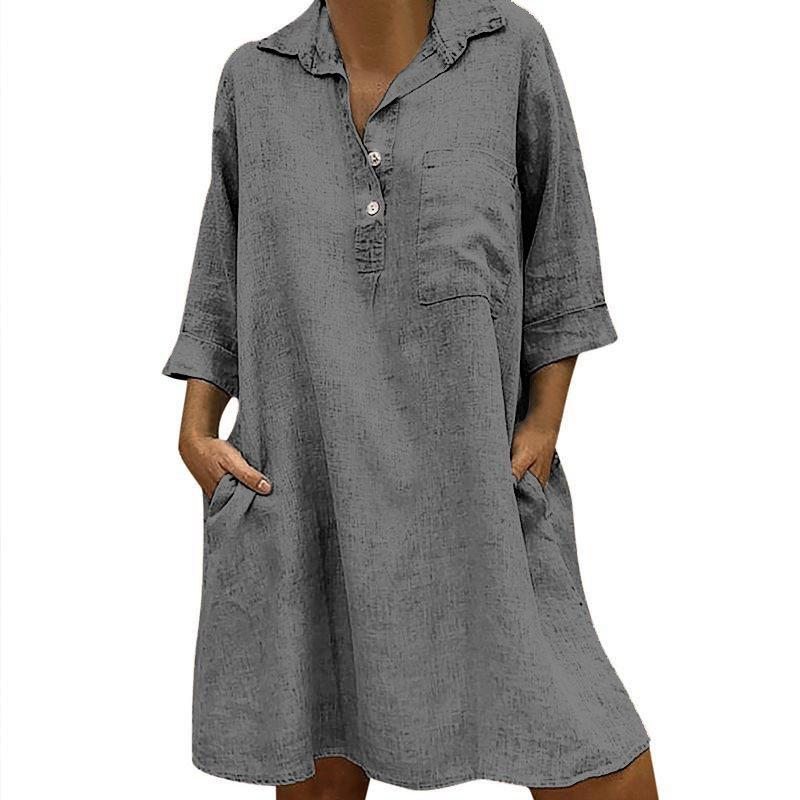 Casual Lapel Button Pocket Half Sleeve Dresses Ninapopo