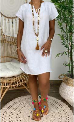 Daily v neck plain loose casual dress