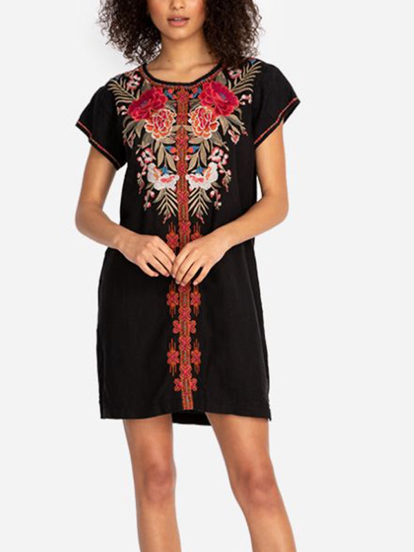 Black Round Neck Short Sleeve A-Line Cotton-Blend Dresses