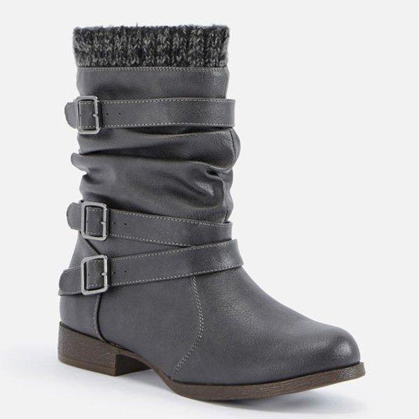 Women Sweater Cuff Booties Casual Comfort  Artificial Leather Boots