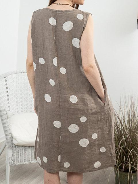Round neck dot printed loose casual dress