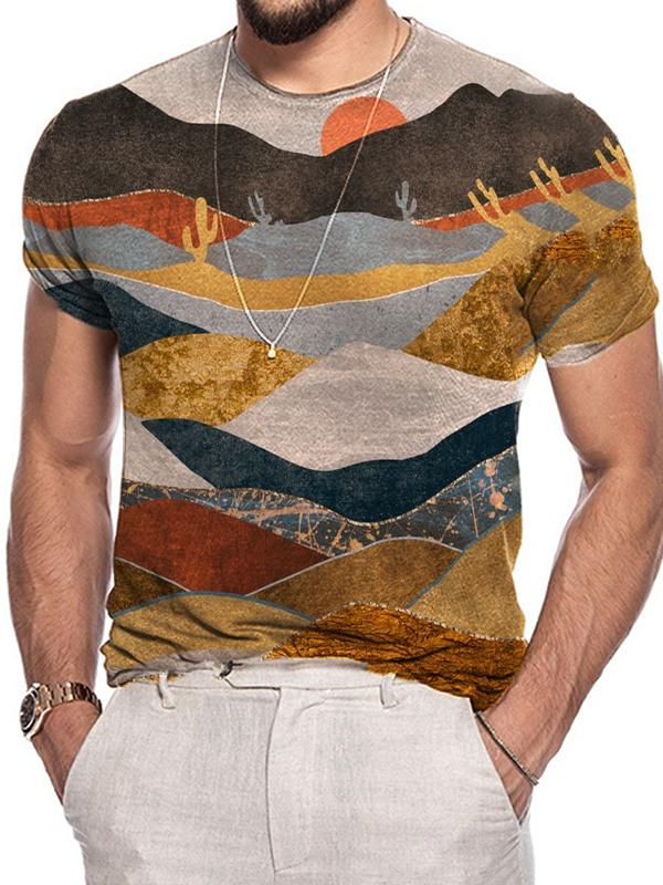 Men's printed casual short sleeve T-shirt