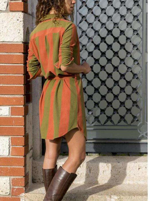 Daily lapel colorful striped button casual dress
