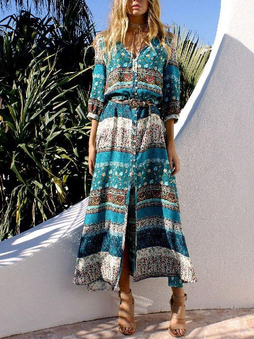 Summer v neck printed belted vacation dress