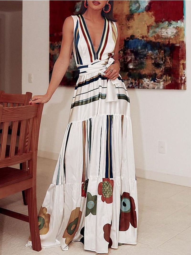 2020 deep v neck colorful striped printed belted vacation dress