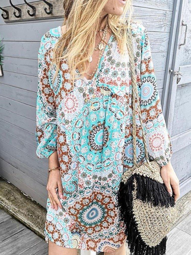 Multicolor Long Sleeve Vintage V Neck Dresses