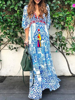 Blue Patchwork Casual Dresses