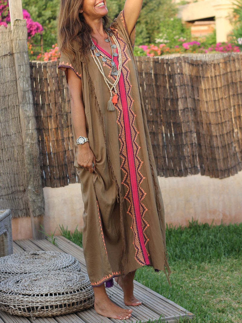 Khaki Cotton-Blend Short Sleeve Color-Block Maxi Dresses