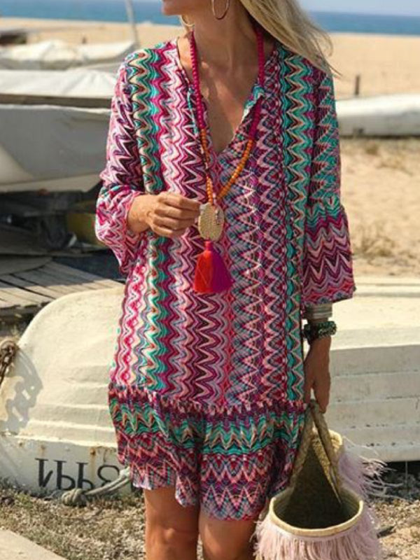 Zigzag 3/4 Sleeve V Neck Zigzag Vacation Dresses