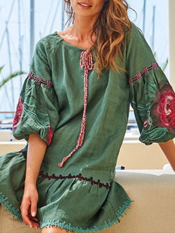 Balloon Sleeve Big Hem Dress V Neck Patchwork Dresses
