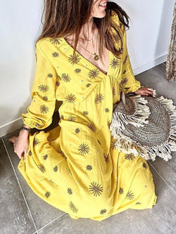 Yellow Big Hem Dress Patchwork Long Sleeve V Neck Dresses