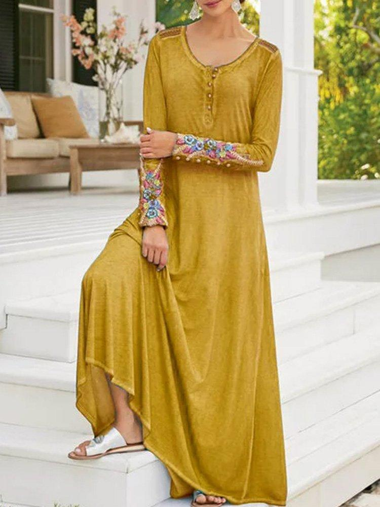 Patchwork Swing Boho Long Sleeve Vacation Dresses