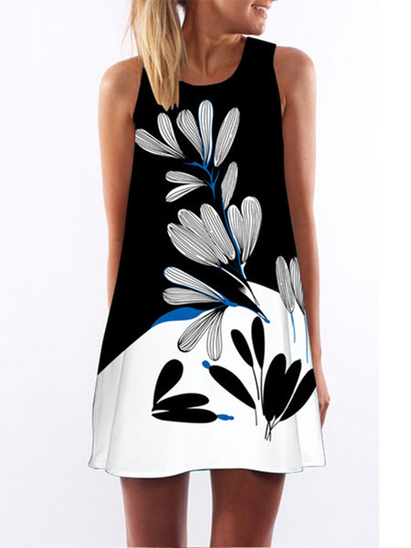 Women   Daytime Sleeveless Printed Floral Dress