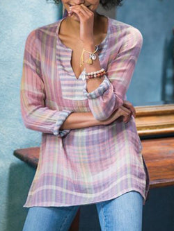 Long Sleeve Casual Gingham Blouse