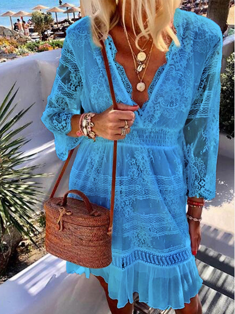Patchwork 3/4 Sleeve Holiday Vacation Dresses