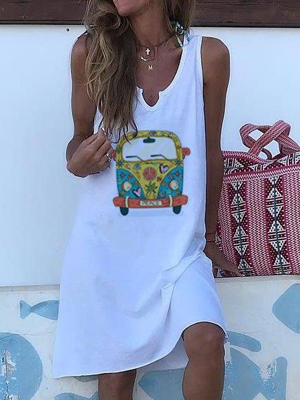V Neck Casual Cotton-Blend One-Pieces