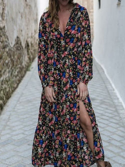 Black Chiffon Long Sleeve Printed Floral Dresses