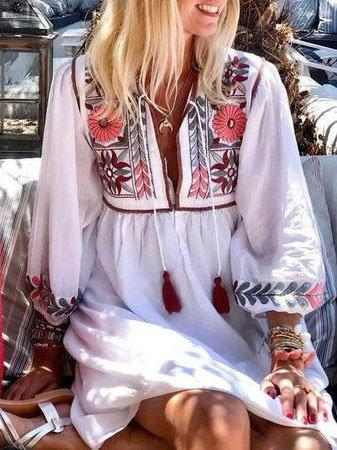 White Boho Floral Vacation Dresses