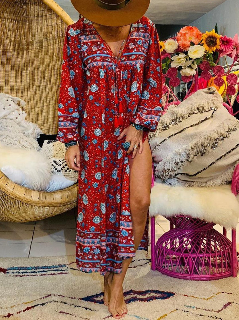 Red Printed Boho Vacation Dresses