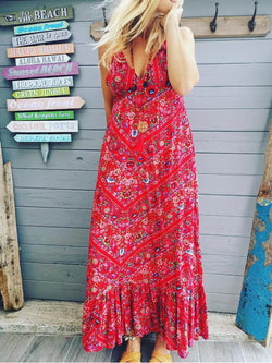 Red Boho Floral Chiffon V Neck Vacation Dresses