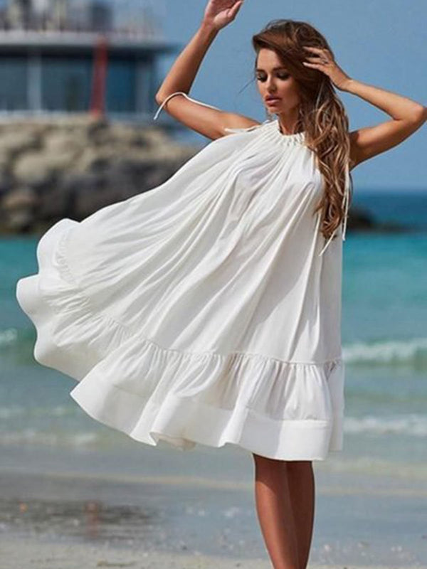 White Holiday Plain Dresses