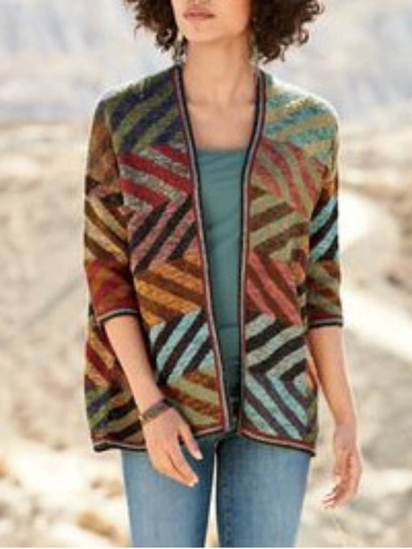 Multicolor Cotton-Blend Casual Outerwear