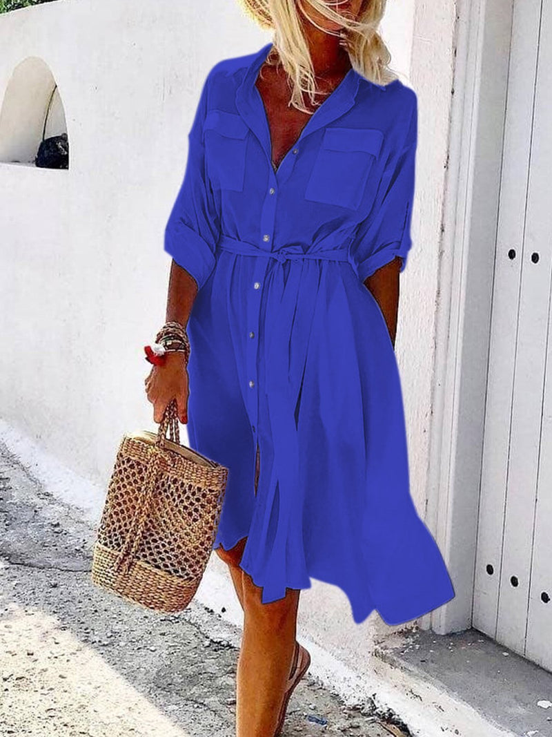 Women  V-neck Half Sleeved Solid  Casual Long Shirt  Dresses