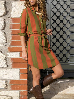 Turn-Down Collar Women Spring Dresses Daily Cotton Dresses