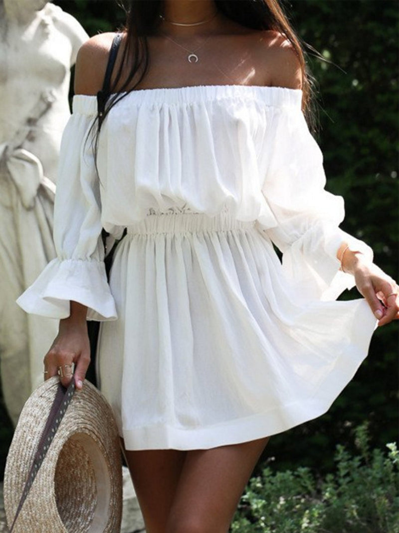 Short Sleeve Sexy Solid Dresses