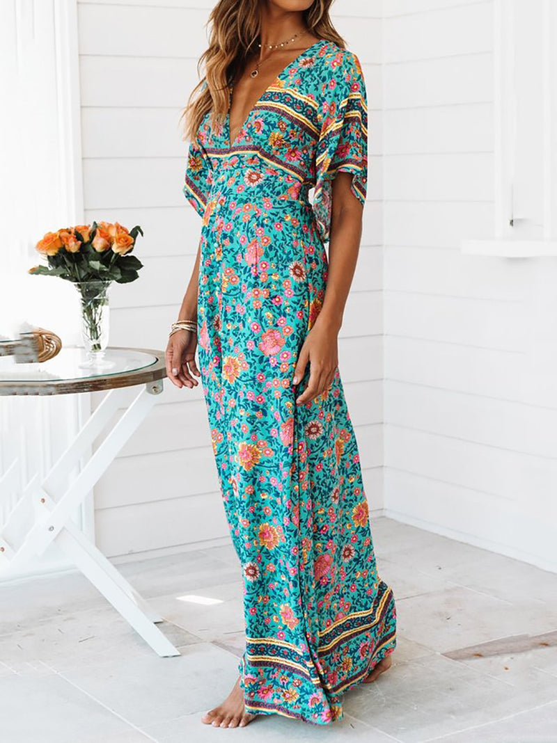 Boho Women Flower Holiday Maxi Dresses