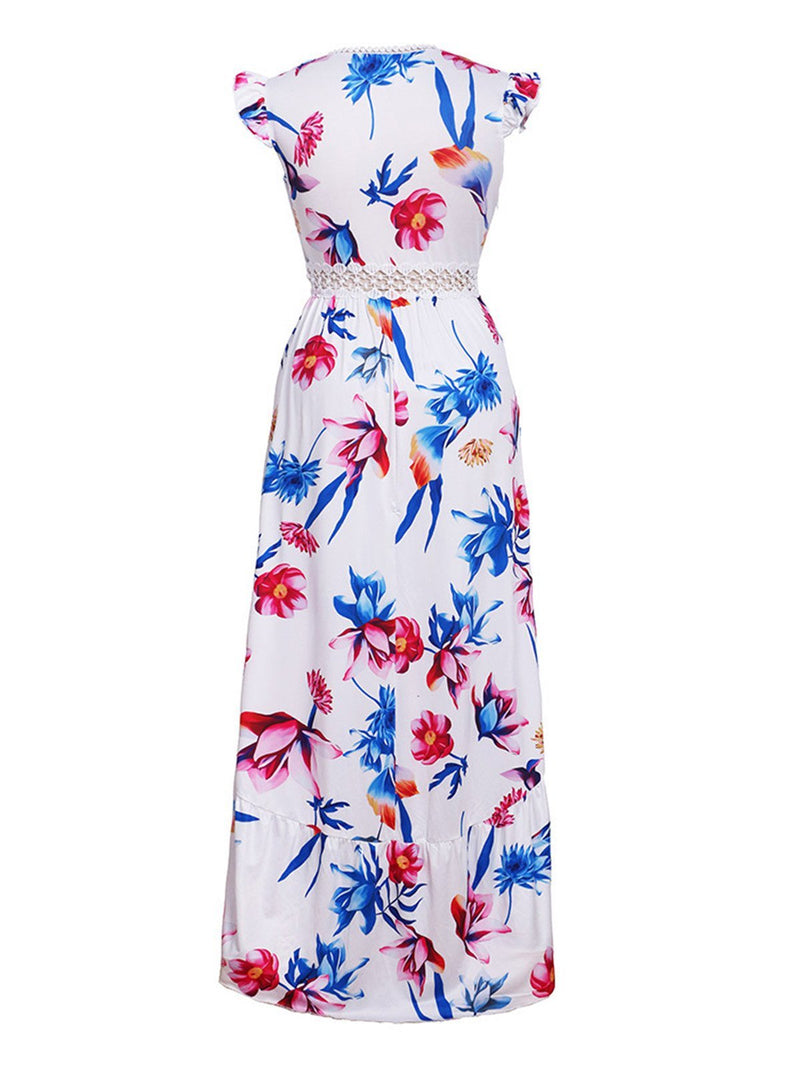 Women Holiday Maxi Dresses Daily Floral V Neck Dresses