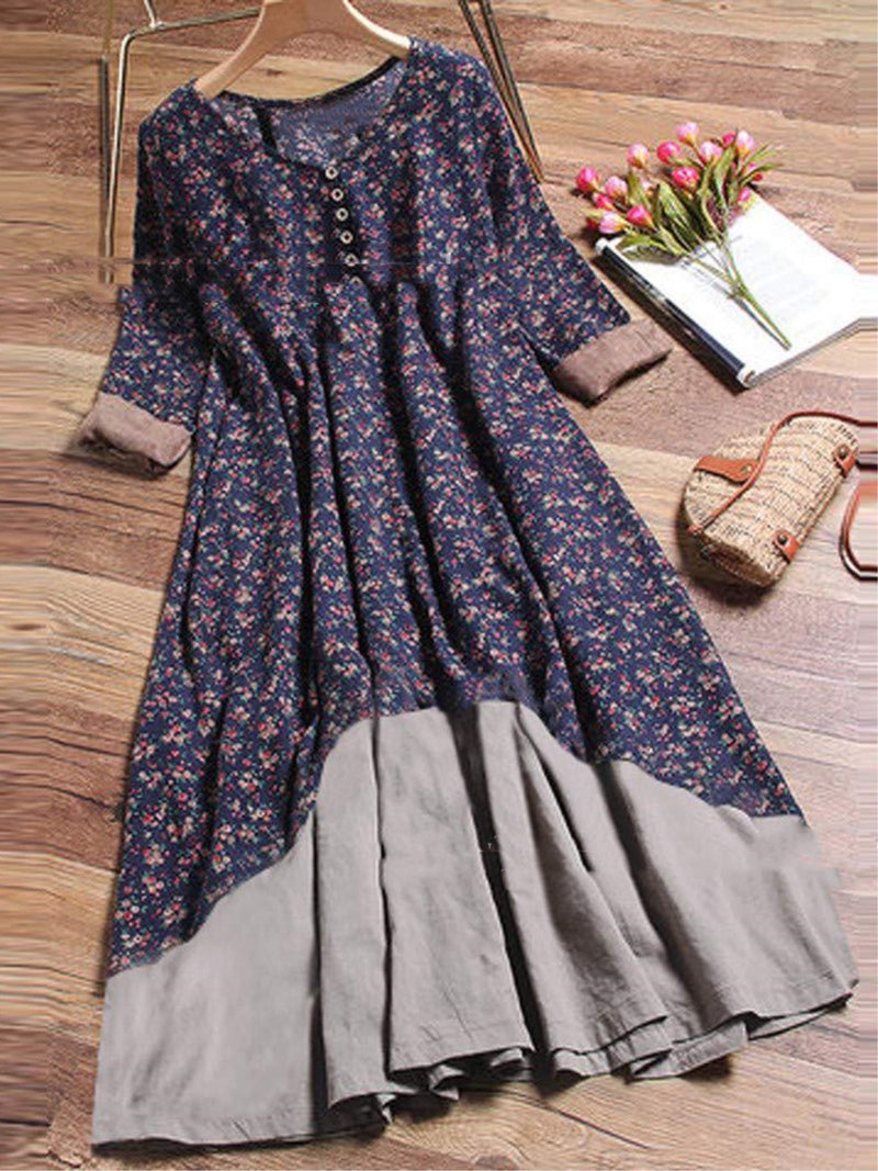 Vintage Floral Printed V-neck Buttoned Half Sleeve Dress
