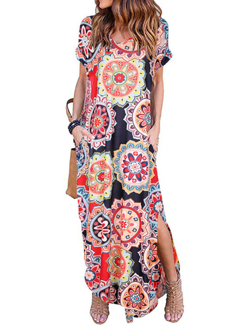 Women Maxi Dresses V Neck Daily Casual Floral Dresses