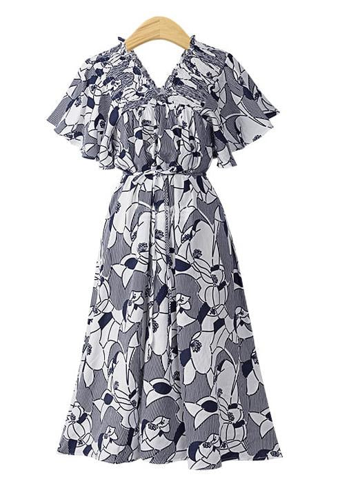 Printed Collar Chiffon Dress