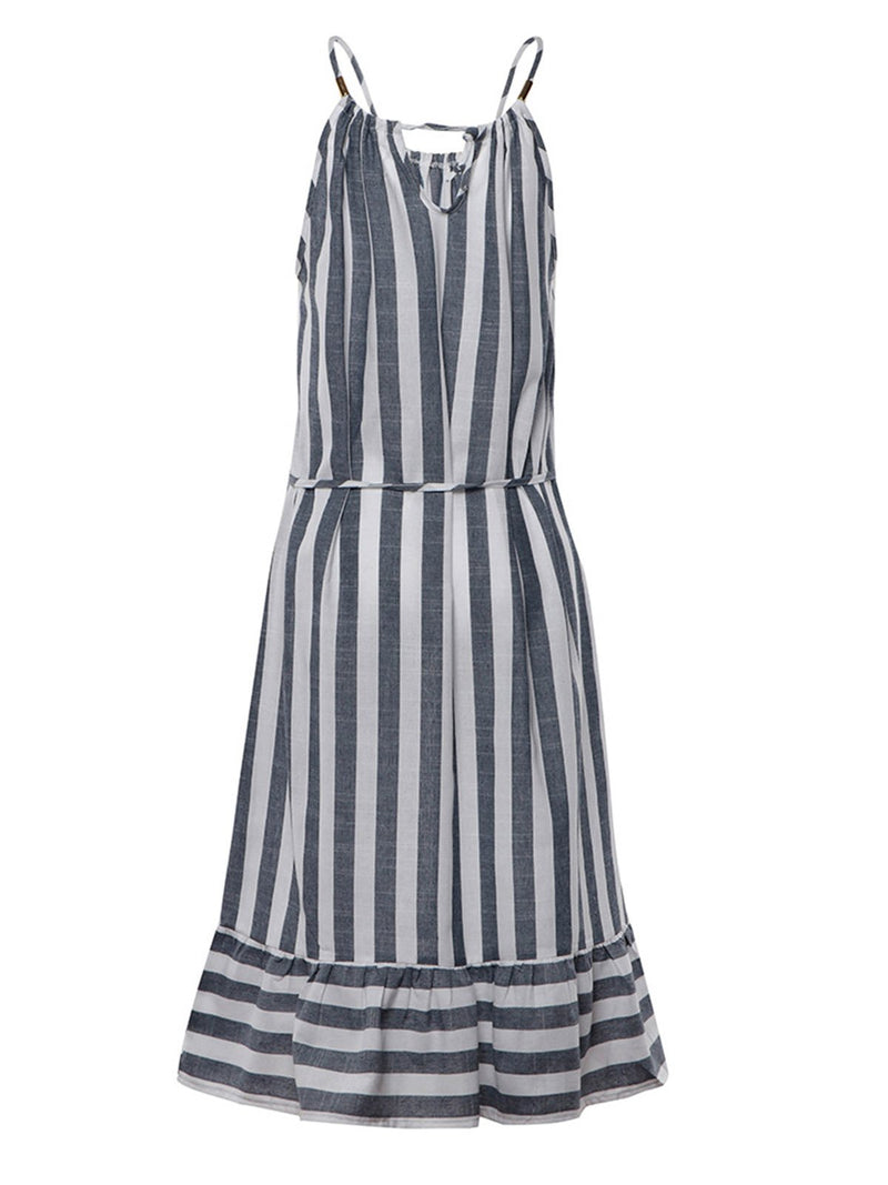 Women  Stripe Spaghetti-strap  Flounce Holiday  Dresse
