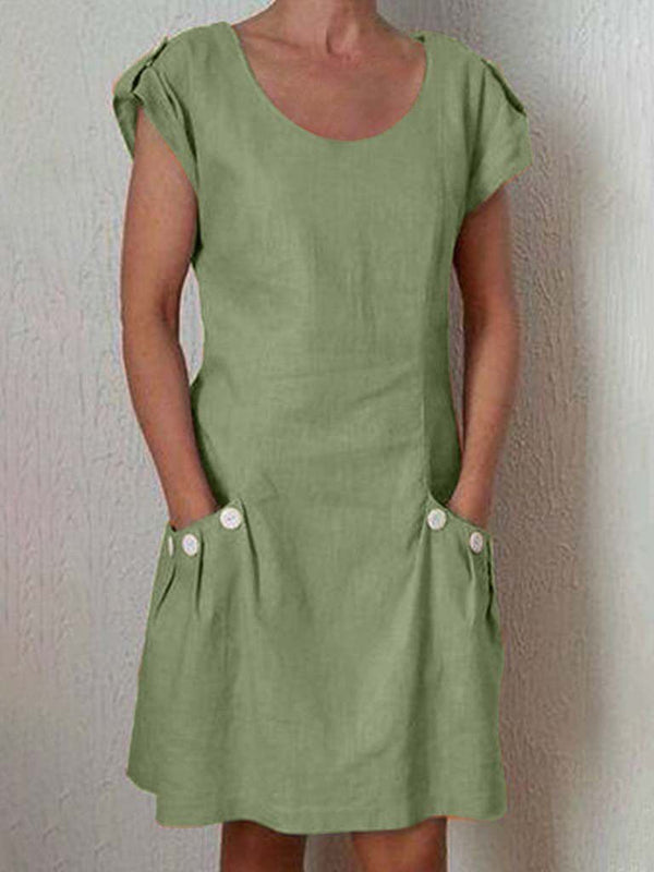 Casual Buttoned Short Sleeve Cotton-Blend Dresses
