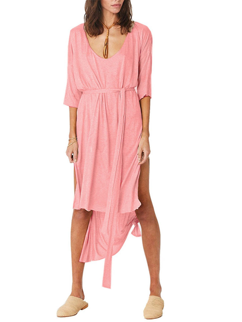 Scoop Neckline Women Dresses Daily Asymmetric Half Sleeve Solid Slit Maxi Dresses