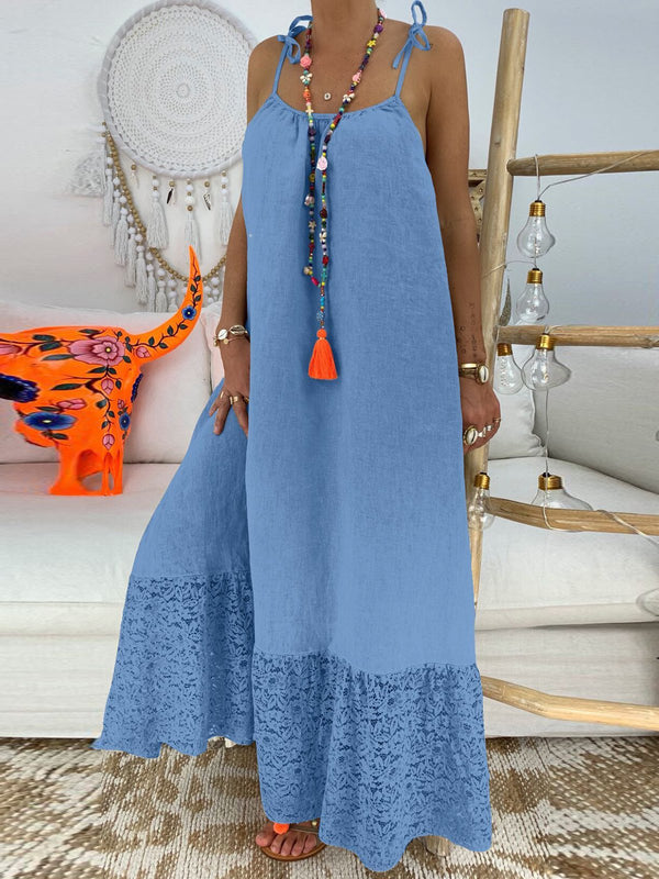 Solid Cutout Daily Cotton-Blend Women Summer Maxi Dresses