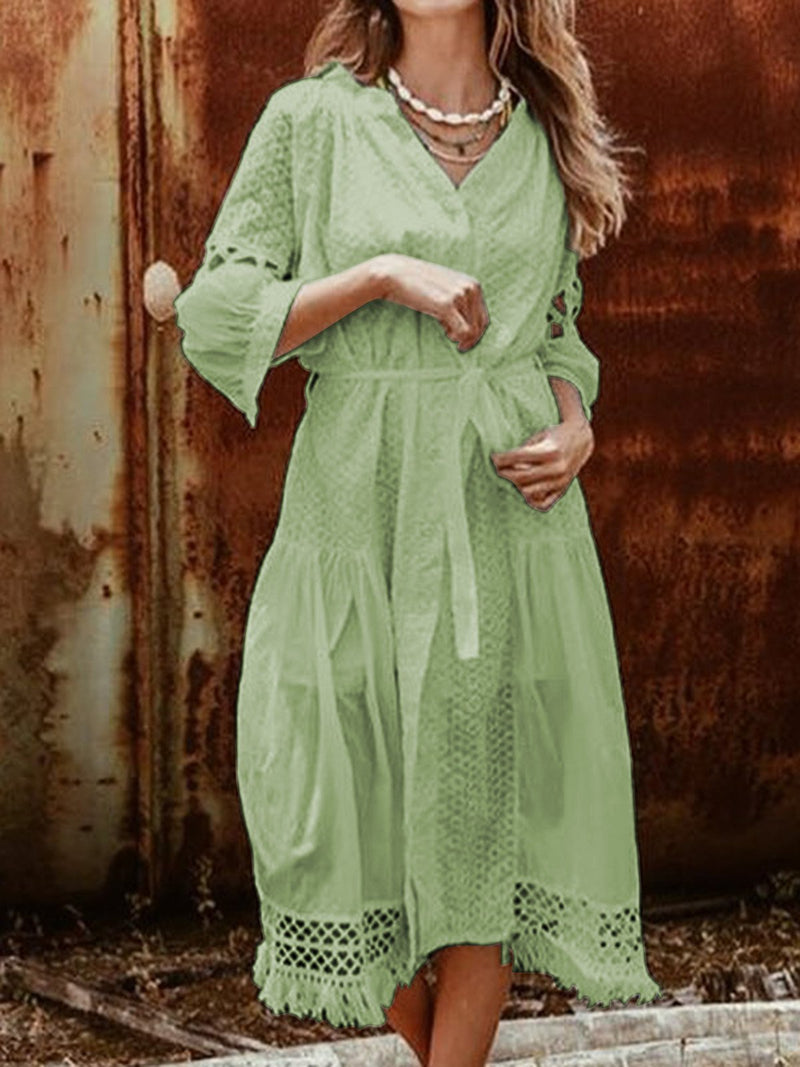 V Neck Women Dresses Shift Boho Cotton Dresses