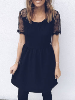 Black See-Through Look Solid Crew Neck Half Sleeve Dresses
