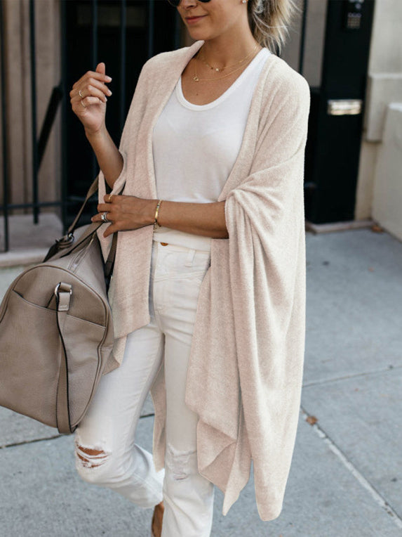 Soft plain asymmetrical loose knit cardigan coat