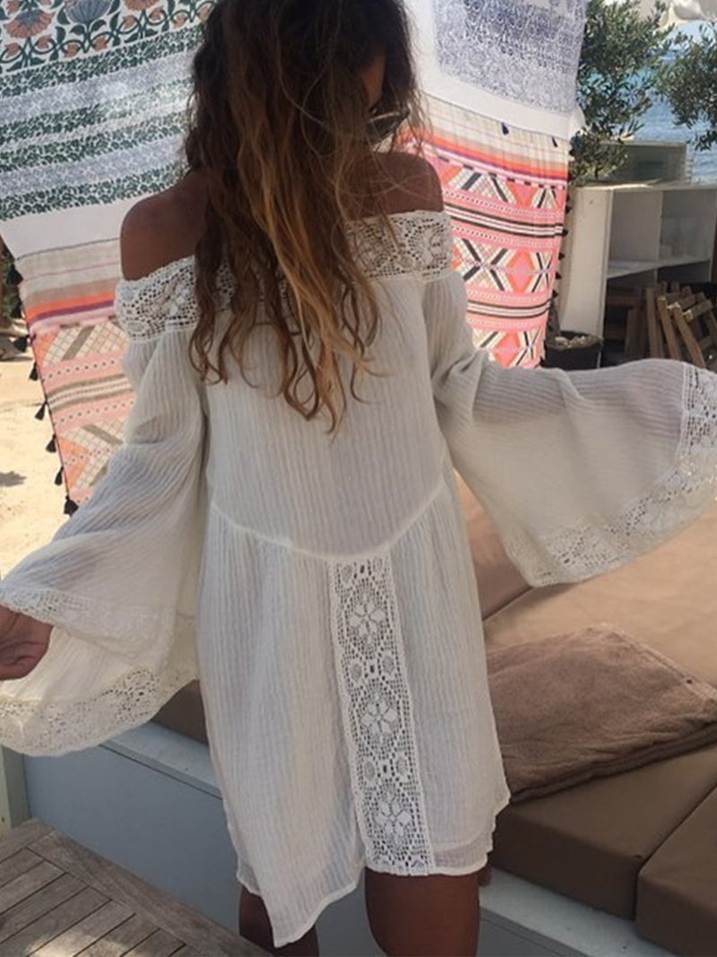 Casual Guipure Lace Off Shoulder Dresses