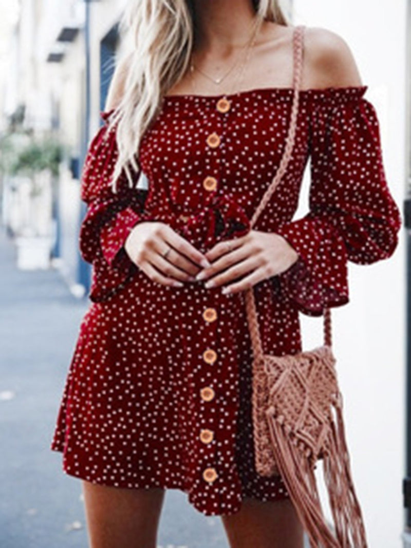 Off Shoulder Casual Sweet A-Line Polka Dots Lady's Dresses