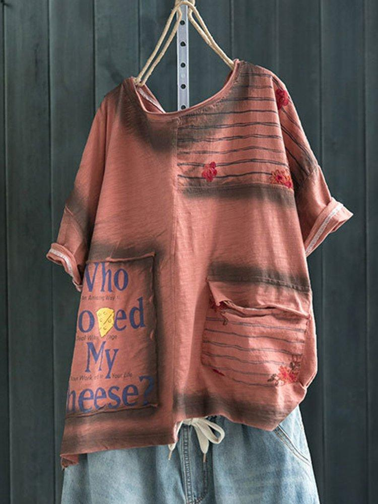 Round Neck Cotton-Blend Sweet & Cute Shirts & Tops